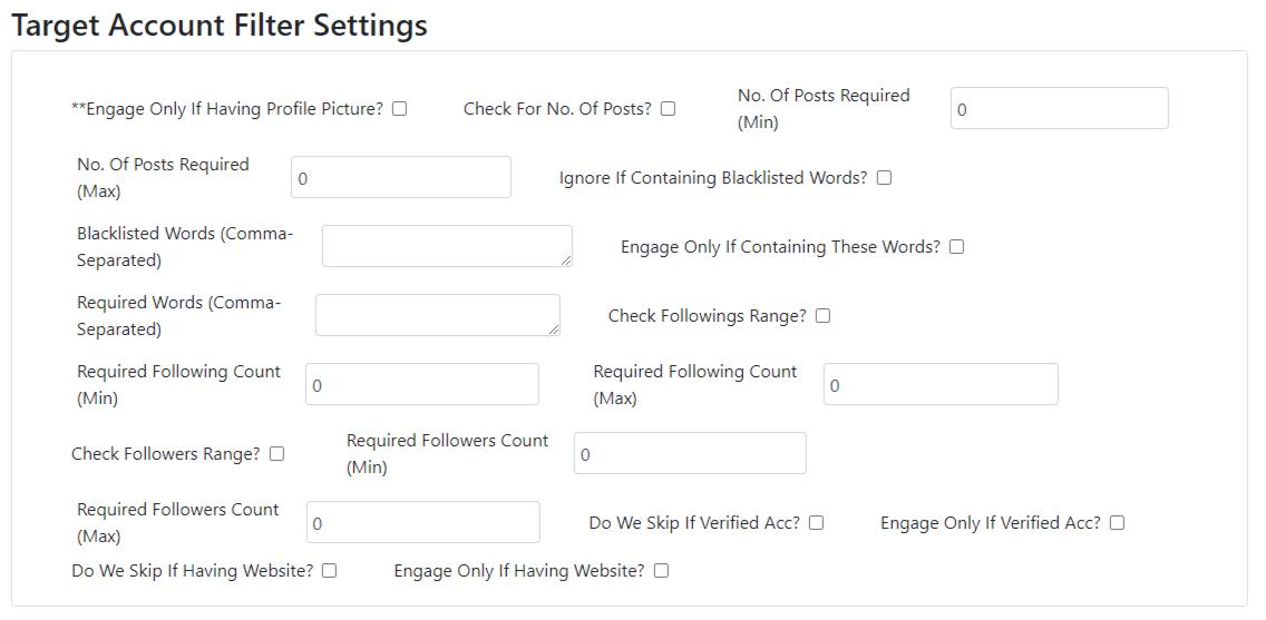 Target Account Filter Settings
